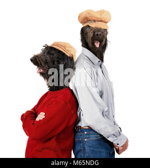 dog heads on human models with their back to each other showing body language of a couple studio shot on an isolated - Stock Photo