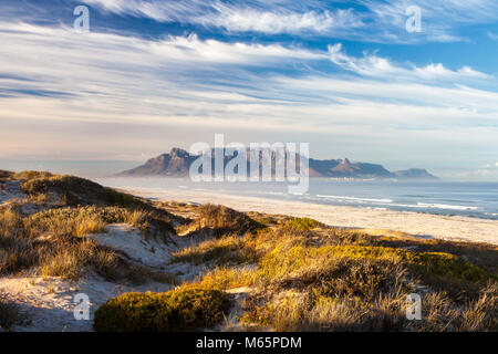 scenic view of table mountain in cape town south africa from blouberg - Stock Photo