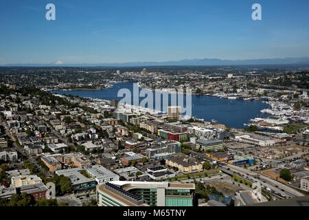 WA13783-00...WASHINGTON - View over Lake Union extending north all the way to Mount Baker from the Space Needle's - Stock Photo