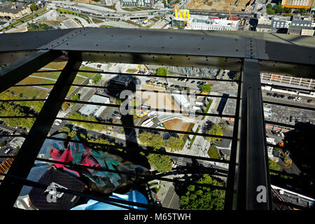 WA13788-00...WASHINGTON - View straight down from the Space Needle's Observation Deck over looking the Monorail - Stock Photo