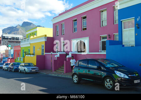 Bo-Kaap in Cape Town - colorful houses,also known as Malay quarter - Stock Photo