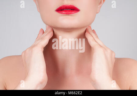 Beautiful woman neck. Anti-aging treatment and face lift - Stock Photo