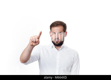 Business man in front of visual touch screen. Business man pushing on button - Stock Photo
