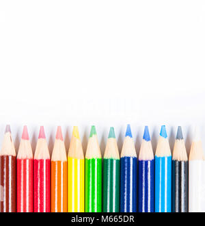 Coloured pencils isolated on the white background. Back to school - Stock Photo