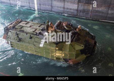 180227-N-DC385-200 GULF OF THAILAND (Feb. 27, 2018) An amphibious assault vehicle (AAV), assigned to the 3rd Assault - Stock Photo