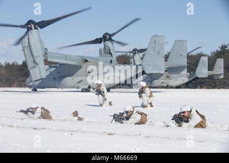 U.S. Marines buddy rush on Camp Sendai, Sendai, Japan, Feb. 19, 2018. Marines participate in a vertical insertion - Stock Photo