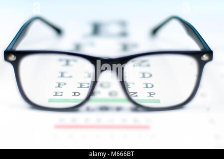 f56a19282ce Eye vision test chart seen through eye glasses. Prescription glasses sitting  on an eye test