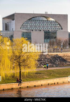 Berlin, Spreebogen, Federal Chancellery building,  river Spree,  Bundestag, Reichstag, Germany parliament, Germany - Stock Photo