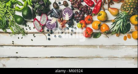 Helathy raw vegan food cooking background - Stock Photo