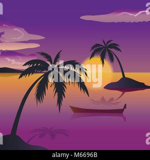 Tropical sea landscape, black silhouettes islands with palm trees , clouds, sky with clouds, sun, wooden boat - Stock Photo