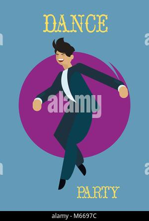 Retro dance party poster. with dancing man Vector illustration. - Stock Photo