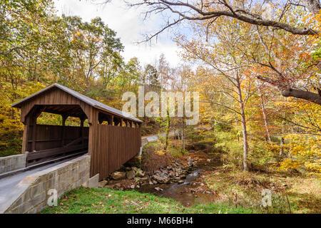 West Virginia Lewisburg Mulligan Creek Herns Mill Covered Bridge - Stock Photo