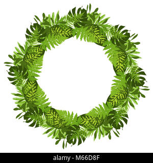 Green circle frame with tropical leaves. Vector illustration - Stock Photo