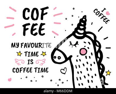 Coffee Time Is My Favourite hand drawn doodles - Stock Photo