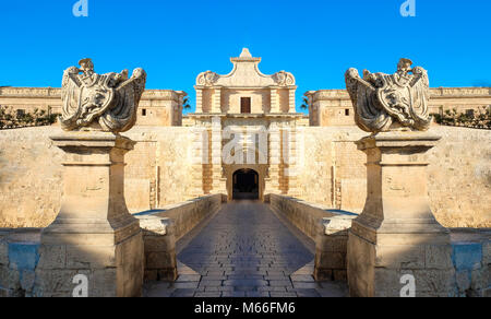 Mdina city gates. Old fortress. Malta - Stock Photo