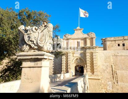 Mdina city gates. Old fortress. Malta - Stock Photo