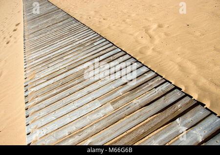 Wooden path pathway over beach sand, Tenerife - Stock Photo