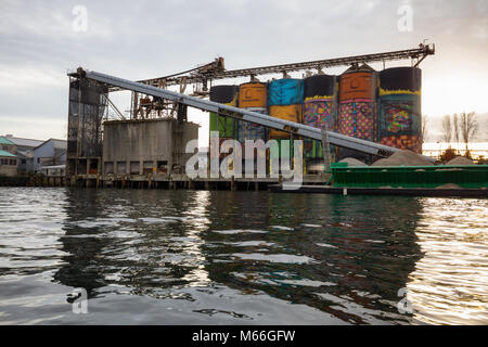 Downtown Vancouver, British Columbia, Canada - January 28, 2017 - Giants Murals Industrial Site in False Creek during - Stock Photo