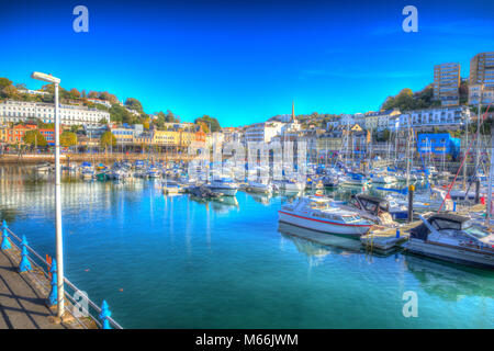 Torquay Devon harbour and marina with boats in colourful hdr in the sunshine - Stock Photo
