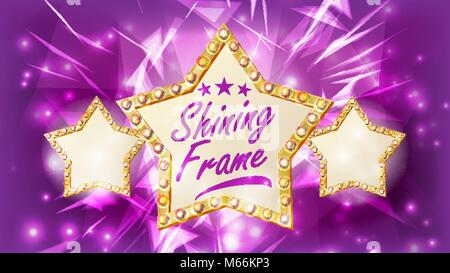 Star Frame Vector. Three Golden Star Shape With Lights. Rays. Award Ceremony, Event Concept. Shine Lamp. Event Illustration - Stock Photo