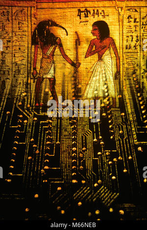 PRINTED CIRCUIT AND SCENE ON EGYPTIAN SCROLL GOD THOTH INVENTOR OF WRITING WITH SCRIBE - ks24708 GER002 HARS OLD - Stock Photo