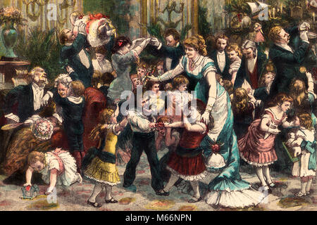 1800s 1880s 1881 CHRISTMAS AT HOME BY G. DURAND LARGE FESTIVE FAMILY PARTY MEN WOMEN 2 CHILDREN FIGHTING OVER TOYS - Stock Photo