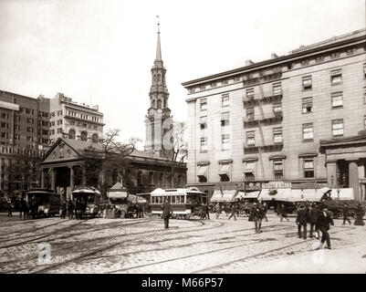 1800s 1890s 1900s NYC HORSE DRAWN STREET CAR TROLLEYS AT SAINT PAUL'S CHAPEL BUILT IN 1766 NEW YORK CITY USA - q41010 - Stock Photo