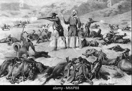 JUNE 1876 GENERAL GEORGE CUSTER THE BATTLE OF LITTLE BIGHORN MASSACRE BY LAKOTA & CHEYENNE NATIVE AMERICANS CUSTER'S - Stock Photo