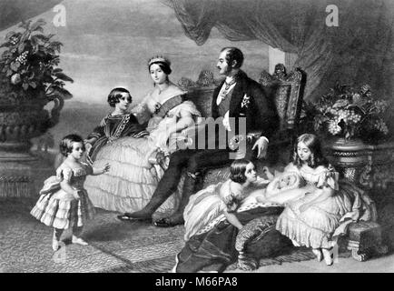 ROYAL FAMILY OF ENGLAND QUEEN VICTORIA PRINCE ALBERT 5 CHILDREN BY WINTERHALTER GROUP PORTRAIT - q65010 CPC001 HARS - Stock Photo