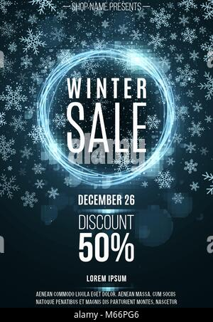 Advertising festive poster for the winter sale. Blue shining banner of luminous twisted lines. Great discounts. - Stock Photo