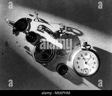1940s POCKET WATCH AND PARTS SPRINGS GEARS MECHANISM IN DRAMATIC LIGHT - s10161 HAR001 HARS TIMEPIECE - Stock Photo