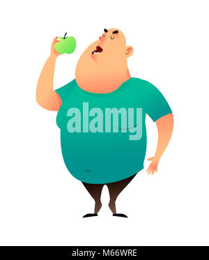 A fat man bites an apple. Useful habits and healthy eating concept. The fatty guy dreams of losing weight and chooses - Stock Photo