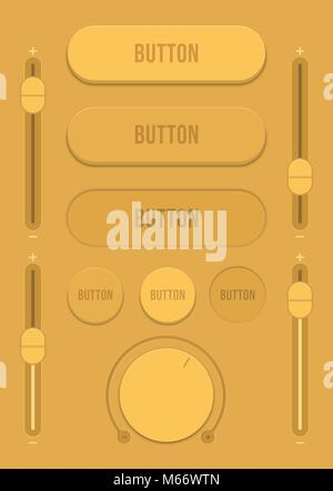 Control user interface. A set of buttons, sensors and sliders in retro style. Ui controls. Brown switches. Minimum - Stock Photo