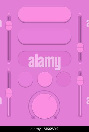 Control user interface. A set of buttons, sensors and sliders in retro style. Ui controls. Purple switches. Minimum - Stock Photo