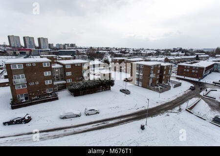 Leeds, UK. 28th Feb, 2018. General view of a residential area in Leed covered in snow.Freezing weather conditions - Stock Photo