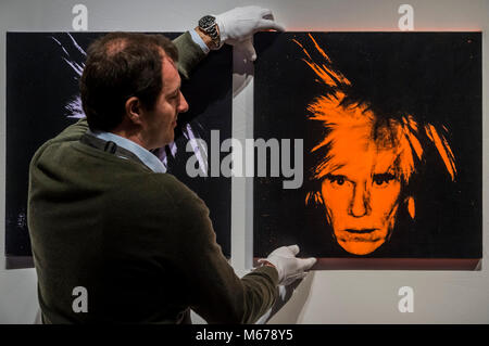 London, UK. 1st Mar, 2018. Christie's preview of their Post War and Contemporary sale. Credit: Guy Bell/Alamy Live - Stock Photo
