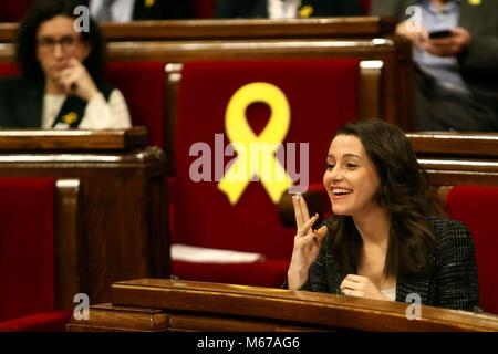 Barcelona, Spain. 1st Mar, 2018. Leader of Ciudadanos party in Catalonia, Ines Arrimadas, reacts during a plenary - Stock Photo