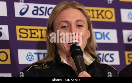 Birmingham, UK. 1st March, 2018. Sally PEARSON (AUSTRALIA)  speaks to the press during the opening Press Conference - Stock Photo