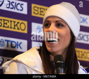 Birmingham, UK. 1st March, 2018. Katerina STEFANIDI (GREECE) speaks to the press during the opening Press Conference - Stock Photo
