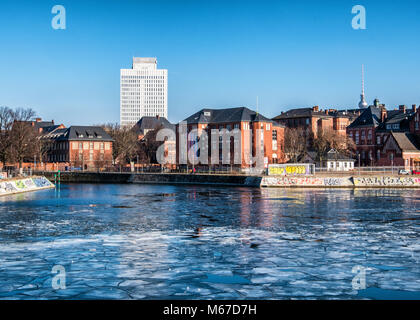 Berlin, Germany. 1st Mar, 2018. 1st March 2018. The  river Spree freezes as sub zero temperatures cause ice floes - Stock Photo