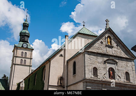 France. Close-up of Saint Jean Baptiste church and steeple in Megeve, a famous ski resort located near the Mont - Stock Photo