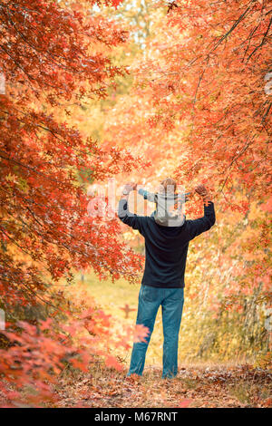 Father giving son piggyback ride in the autumn park - Stock Photo