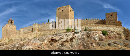 The Alcazaba of Antequera, a Spanish Castle from the 14th Century built on the outside of a Spanish Town near Malaga. - Stock Photo