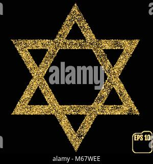 Judaism david, jewish, israel star. Seal of Solomon icon. Vector illustration. Gold concept - Stock Photo