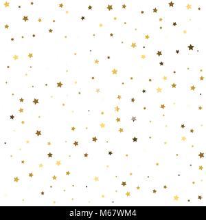 Star pattern. white, background, gold, gift wrap. Vector illustr - Stock Photo