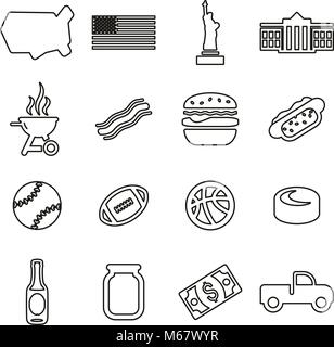 USA Country & Culture Icons Thin Line Vector Illustration Set - Stock Photo