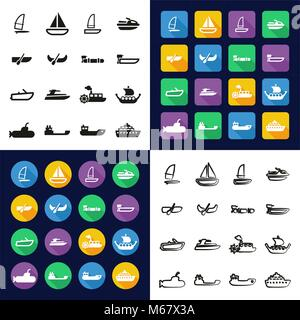 Water Transport All in One Icons Black & White Color Flat Design Freehand Set - Stock Photo