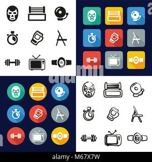 Wrestling All in One Icons Black & White Color Flat Design Freehand Set - Stock Photo