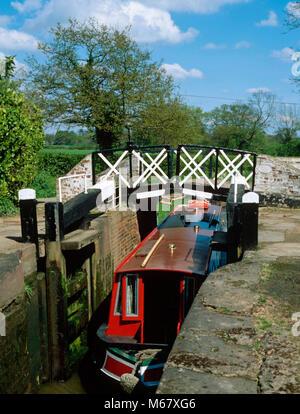Lapworth locks on the Stratford upon Avon Canal, near Solihull, Warwickshire - Stock Photo
