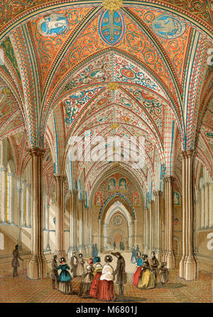 Interior of the Temple Church, London, England.  From Old England: A Pictorial Museum, published 1847. - Stock Photo